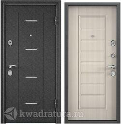 Дверь входная стальная Торэкс Delta М 10 Черный шелк DL-1/ПВХ БЕЛ перламутр СК65-S магнитный уплотнитель