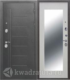 Входная дверь Троя 10 МАКСИ зеркало Серебро/Белый ясень