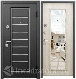 Дверь входная стальная Торэкс Super Омега 10 Черный шелк VDM-2N/ПВХ БЕЛ перламутр RS-10