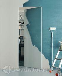 Скрытая дверь Invisible Revers внутреннего открывания под покраску с алюминиевой матовой кромкой L/R